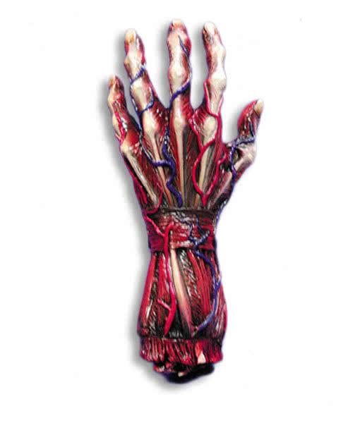 gehäutete Hand links | Halloween Körperteile als Deko | Horror-Shop.com