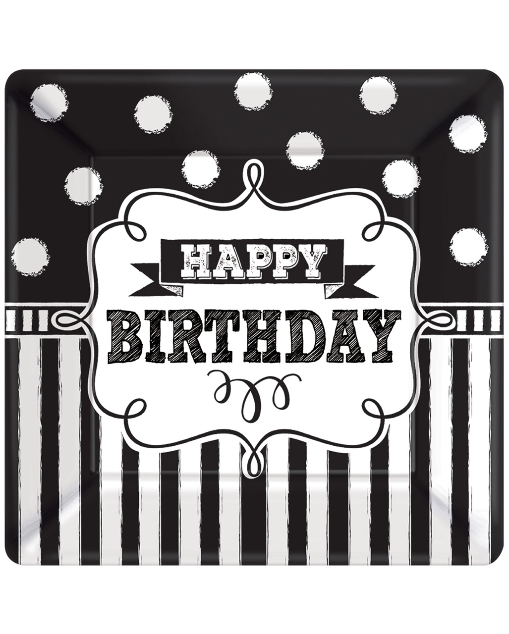 happy birthday paper plate black white 8 pcs to buy
