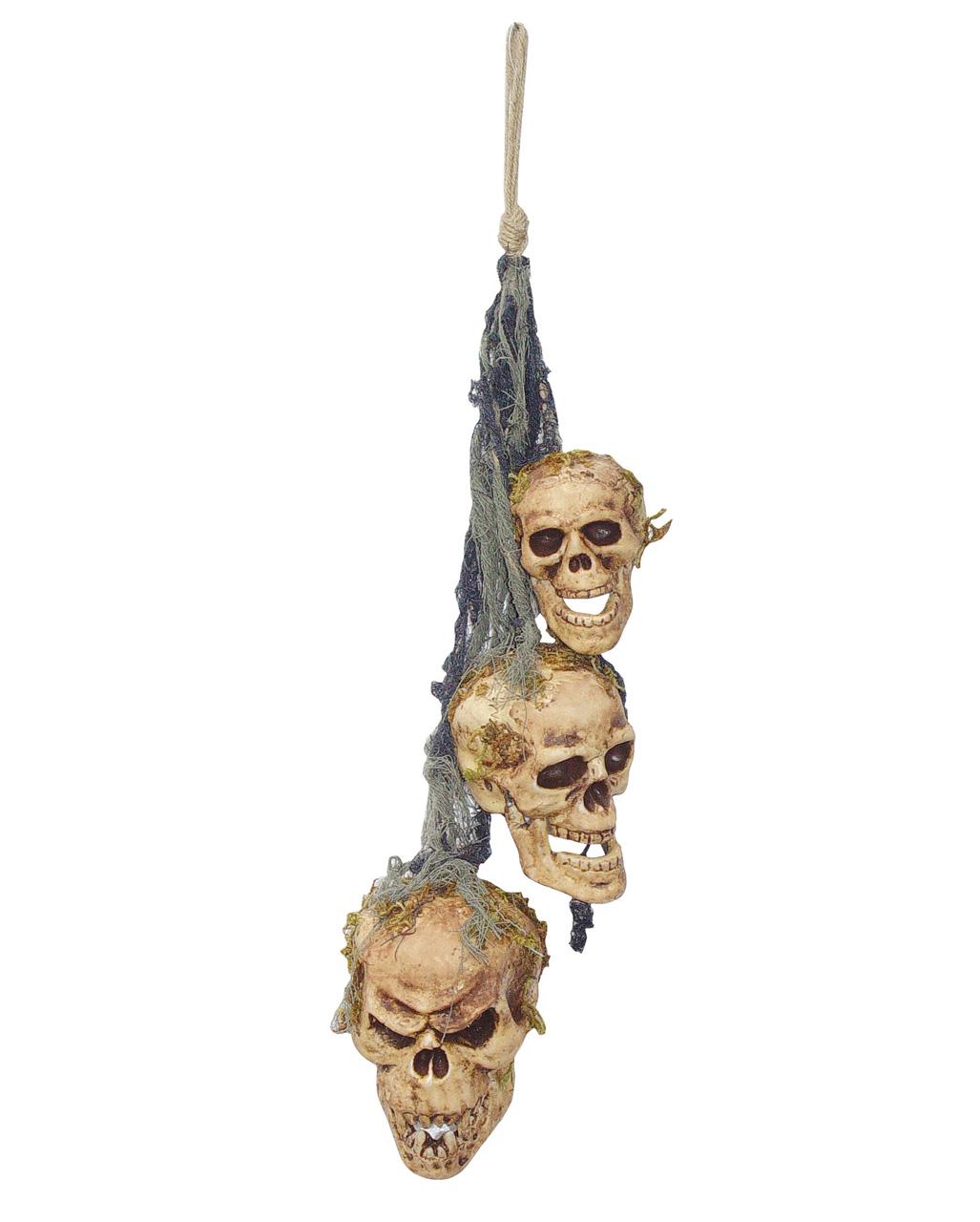 3 headed skull wind chimes halloween deco horror shopcom