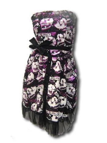 Skull Foil Dress Black Pink SM