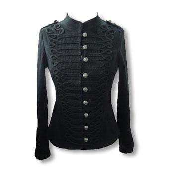 Schwarze Gothic Jacke im Uniform Style