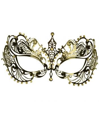 Intricate metal eye mask with rhinestone gold